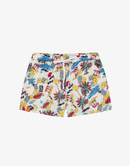 SWIM PANT HAWAII WORDS OVERALL PRINT
