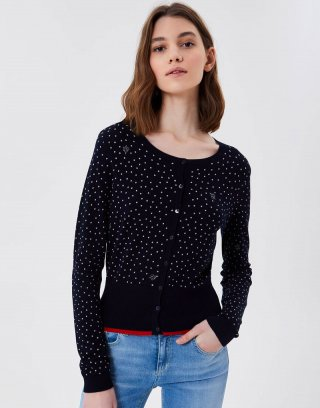 Liu Jo - Cardigan in viscosa stretch a pois